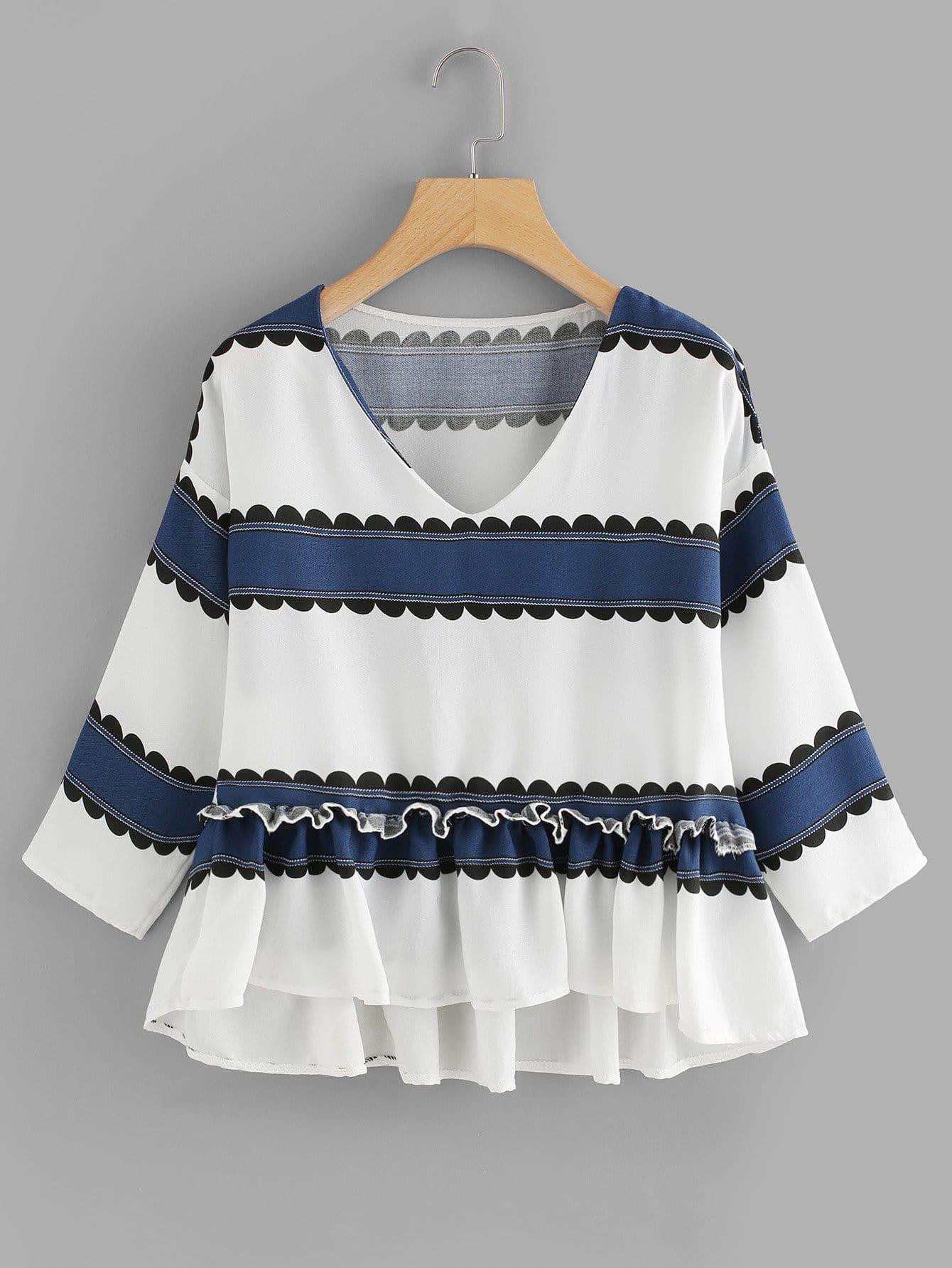 V Neckline Striped Frill Dip Hem Blouse all over cranes print dip hem striped blouse