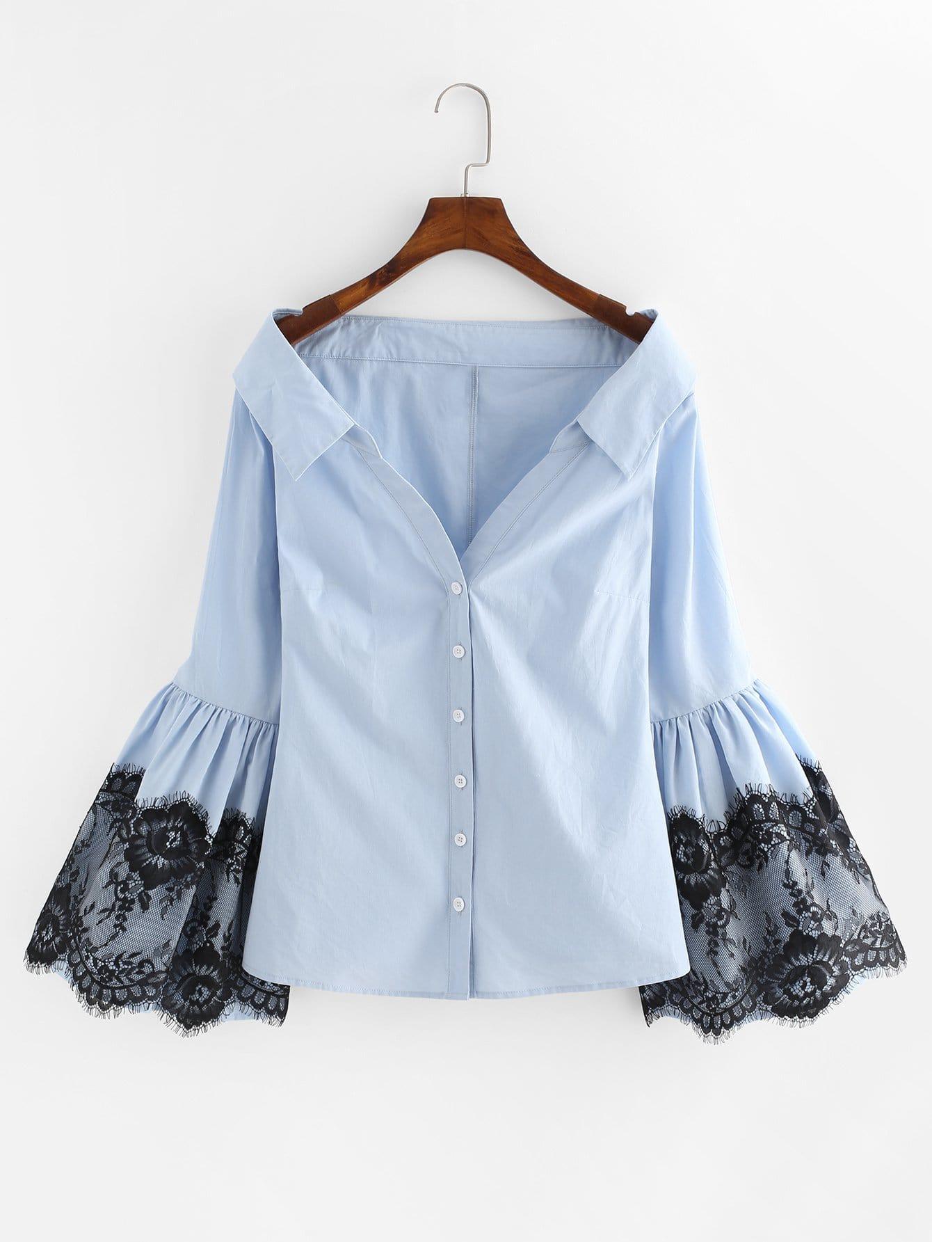Lace Detail Trumpet Sleeve Bardot Blouse elegant trumpet sleeve open back blouse