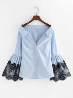 Lace Detail Trumpet Sleeve Bardot Blouse
