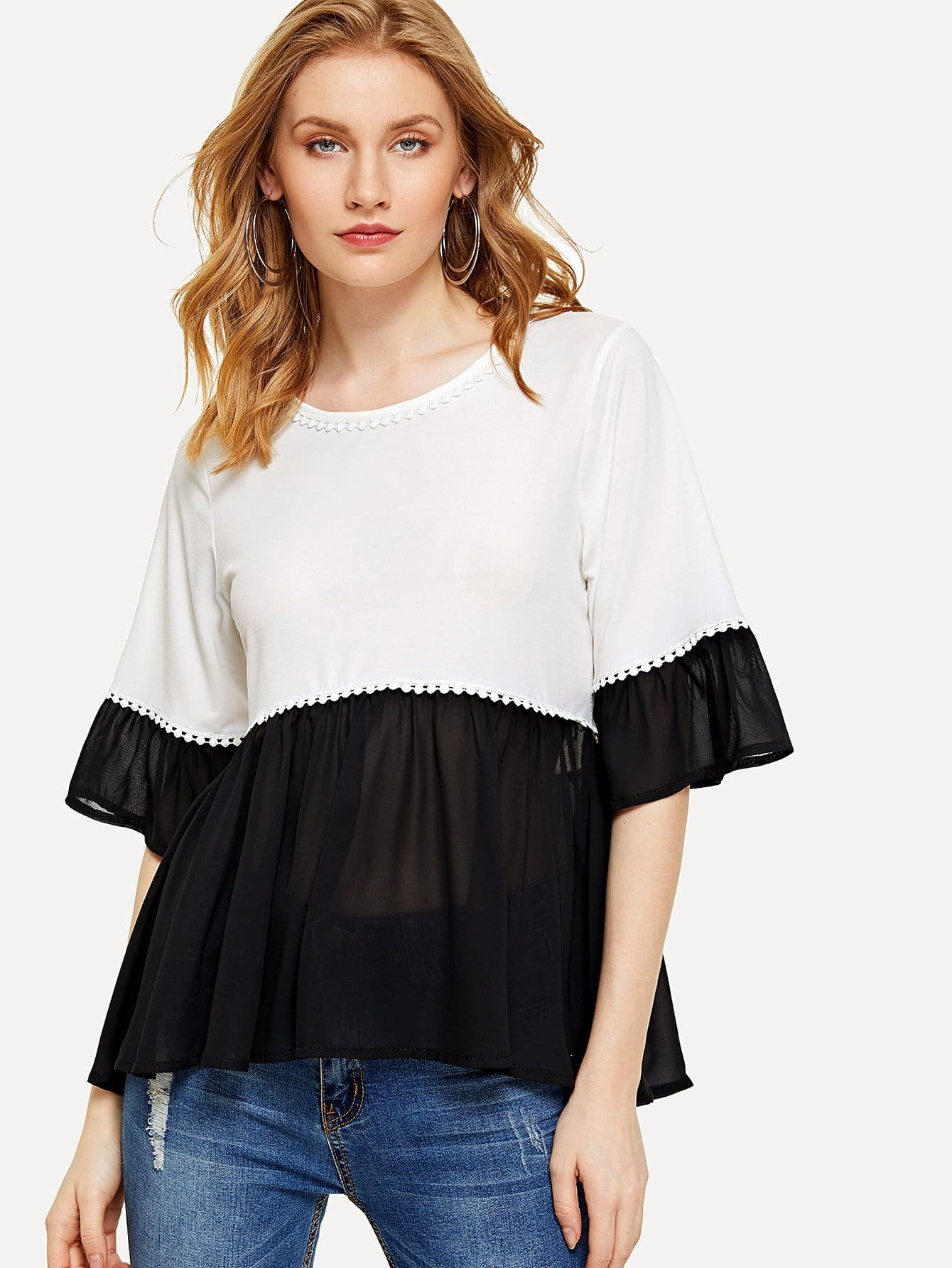 Flounce Sleeve Two Tone Top contrast embroidered two tone plush top