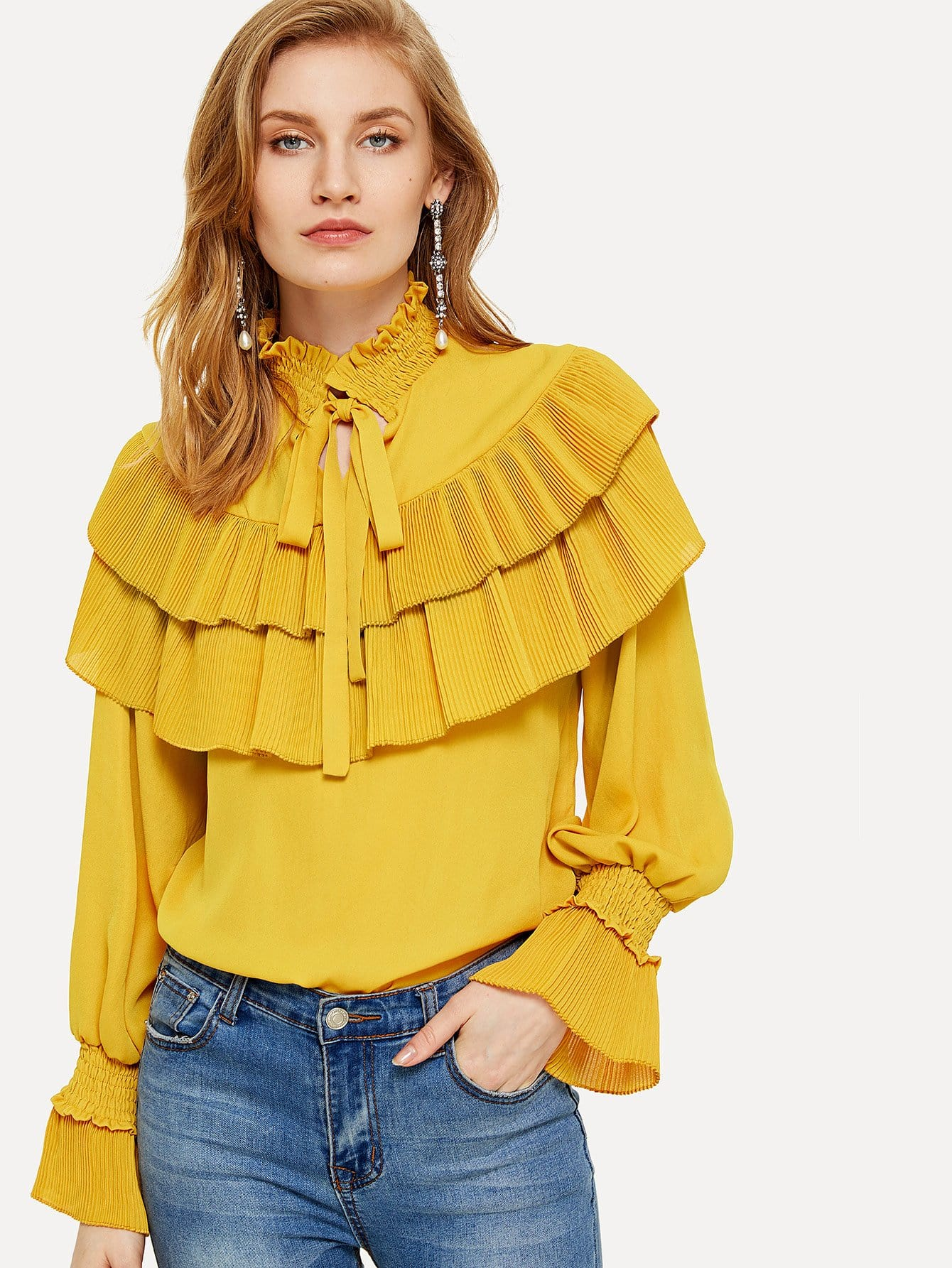Pleated Ruffle Tiered Tied Neck Solid Blouse tiered pleated cuff solid top
