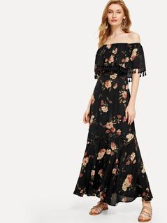 Tassel Trim Flounce Layered Neckline Dress