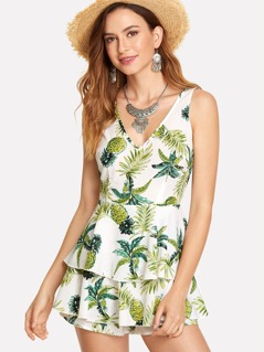 Tropical Print Ruffle Layered Romper