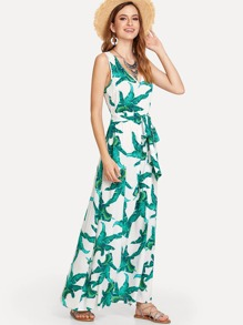 Jungle Leaf Print Belted Dress