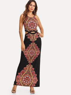 Ornate Print Cutout Midriff Cami Dress