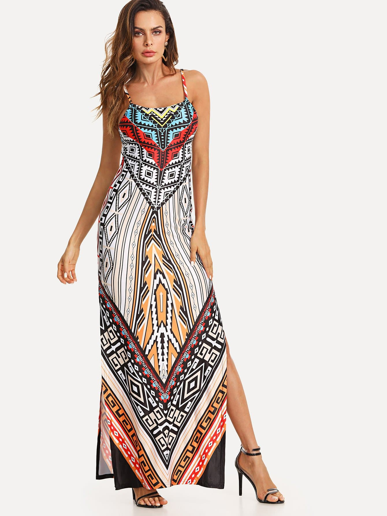 Geo Print Cami Dress abstract geo print overall dress