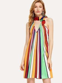 Halter Neck Striped Dress