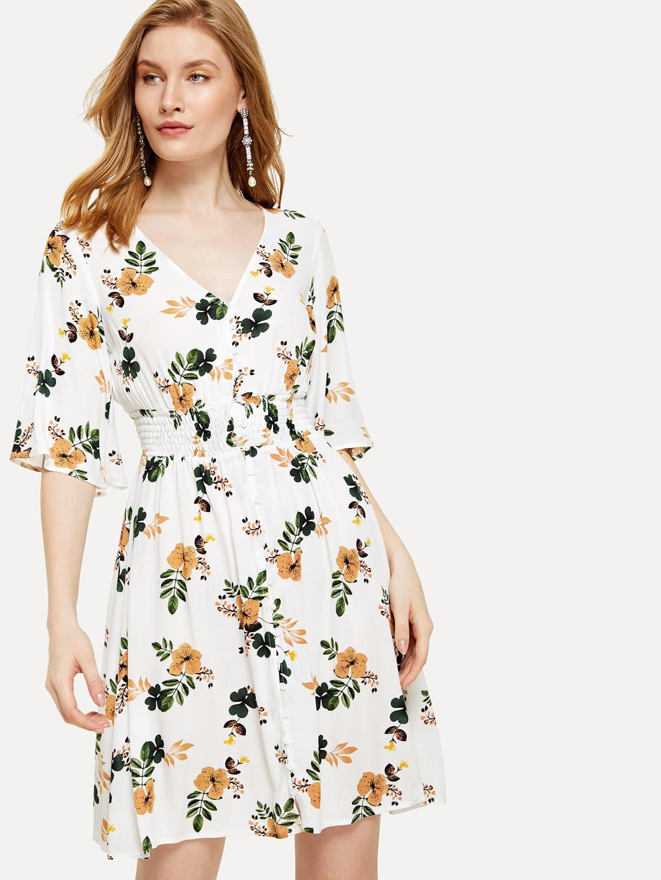 Button Up Shirred Waist Floral Dress button up tassel tie shirred waist ornate print dress