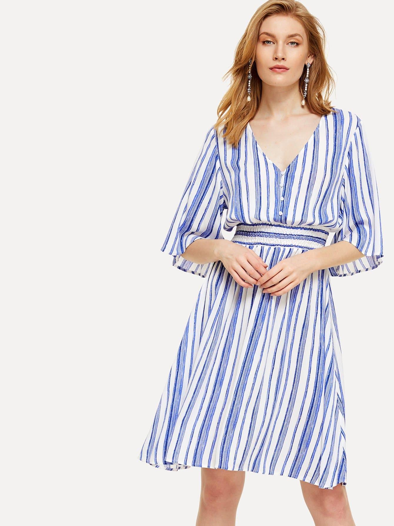 Half Placket Shirred Waist Striped Dress half placket striped smock shirt dress