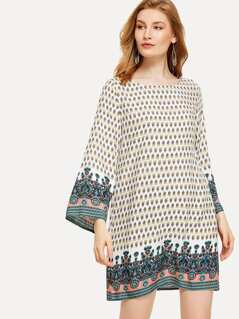 Bell Sleeve Ornate Print Dress