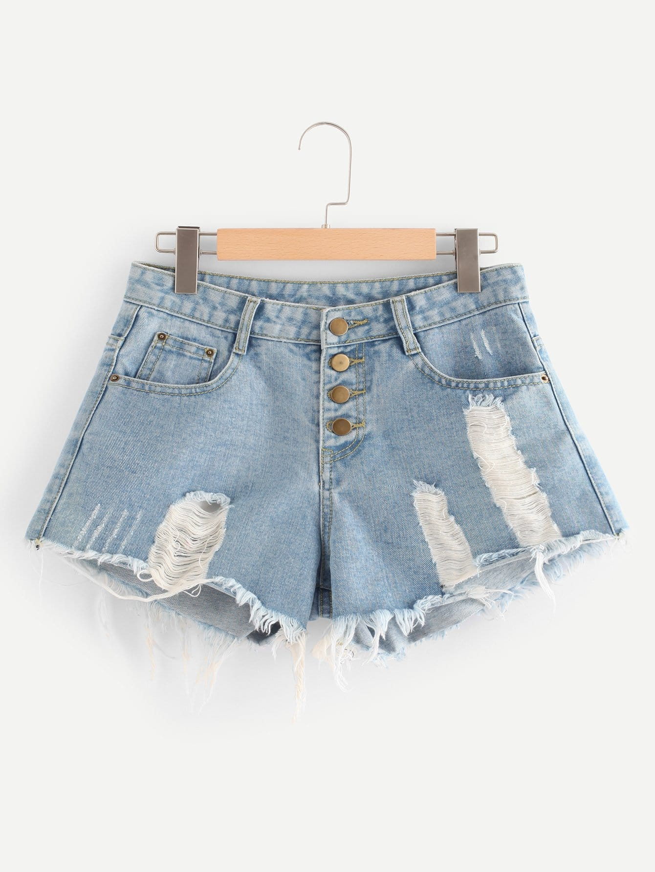 Купить со скидкой Button Fly Distressed Denim Shorts