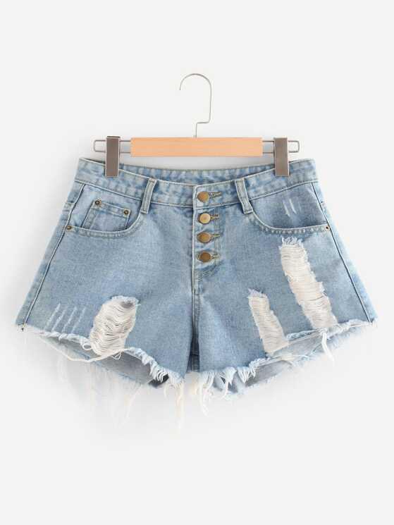 Button Fly Distressed Denim Shorts Makemechic Com
