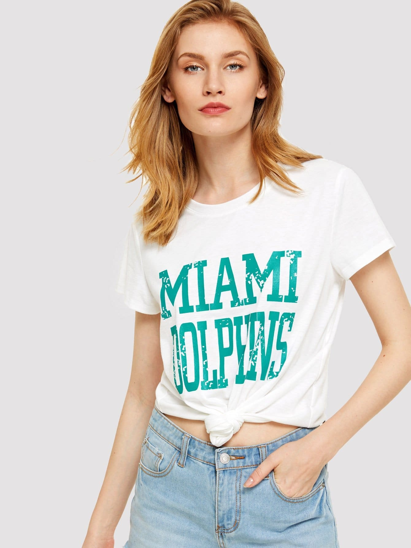 Distressed Letter Print T-shirt letter and gesture print t shirt