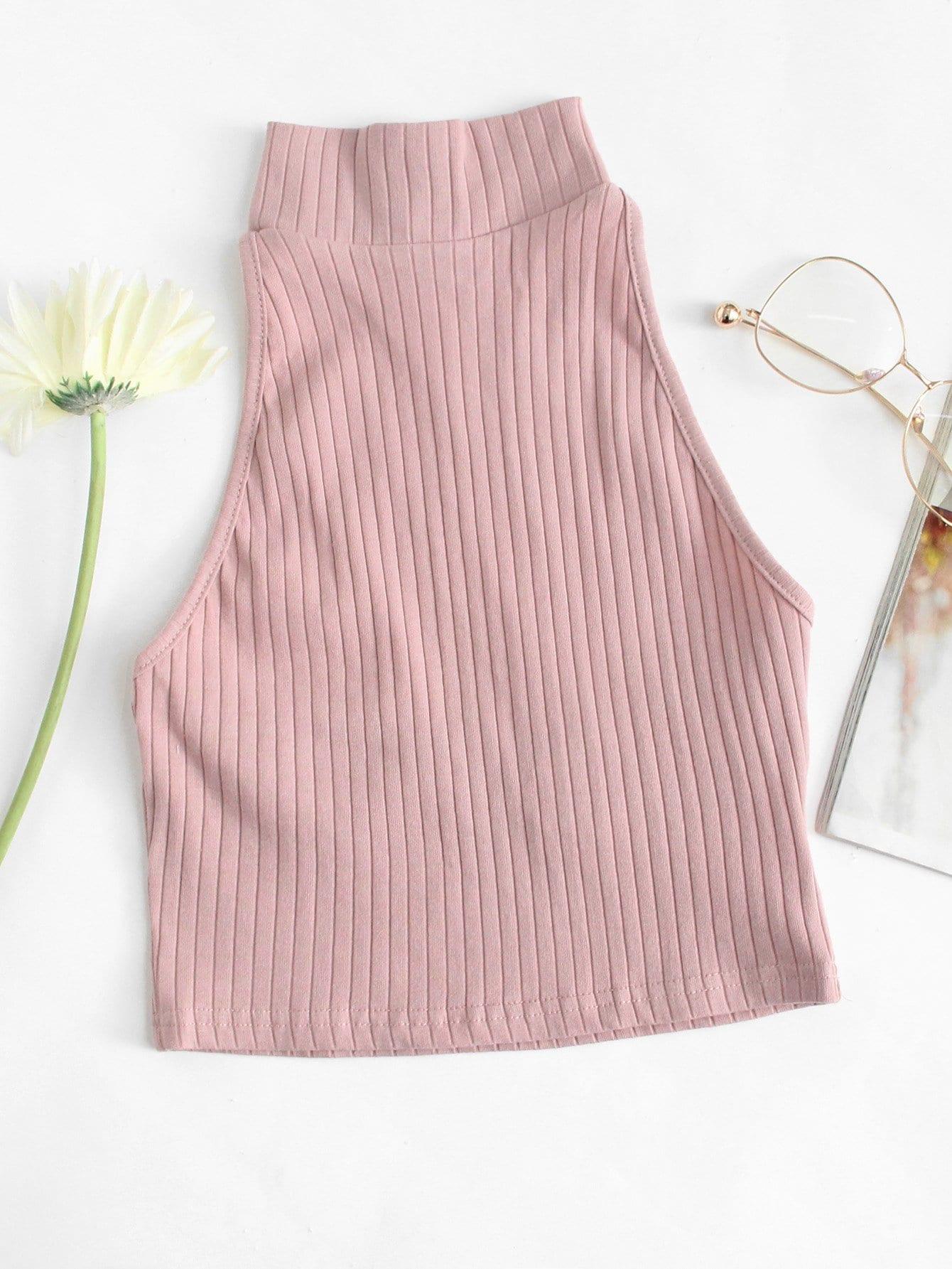 Rib Knit Halter Top rib knit tank top