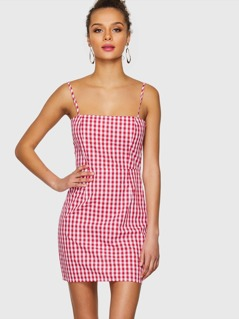 Knotted Open Back Gingham Cami Dress