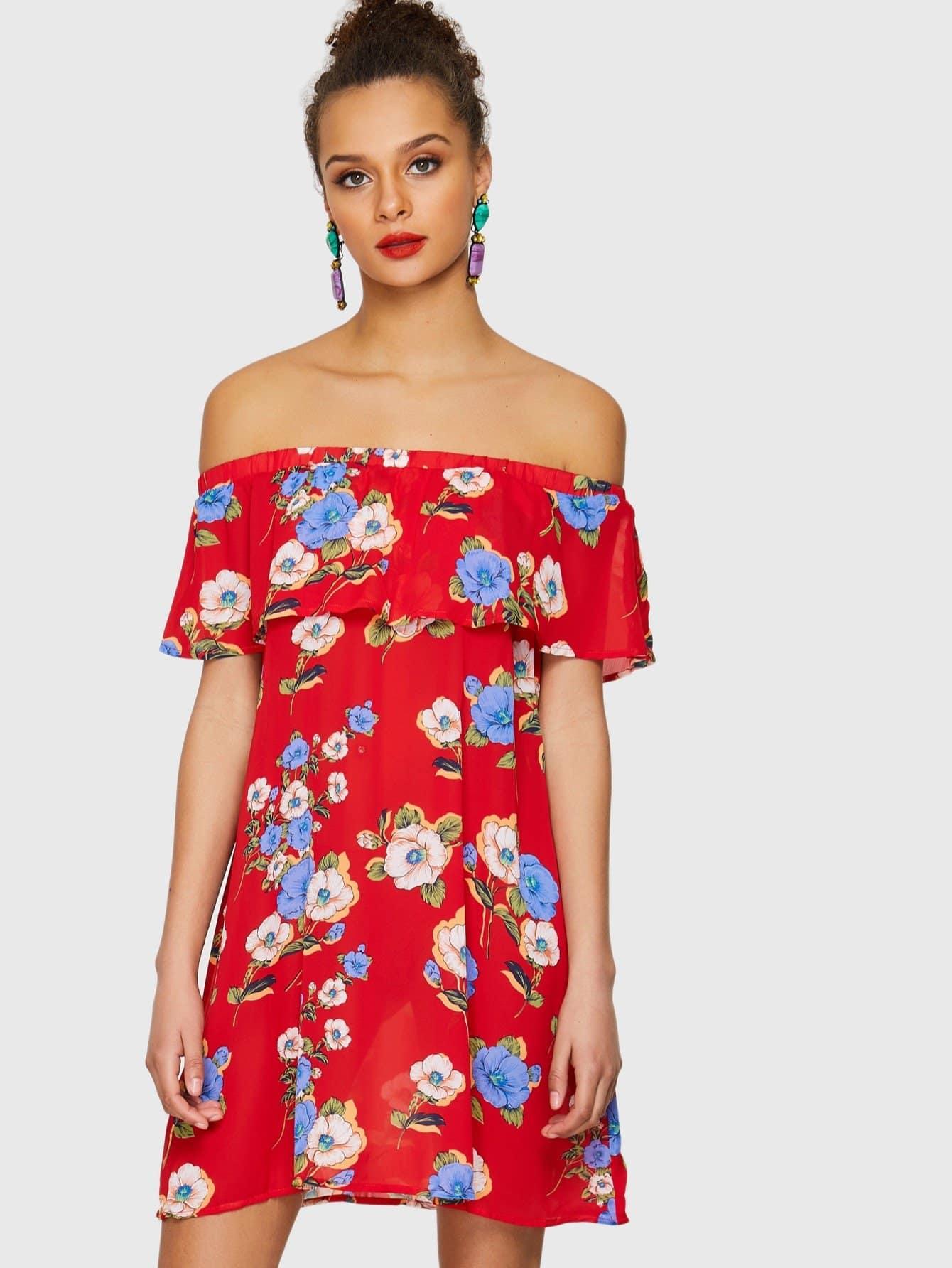 Flower Print Foldover Front Bardot Dress contrast collar foldover front dress