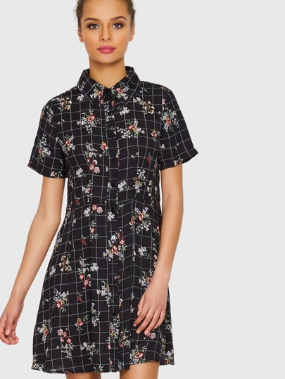 Checked Floral Shirt Dress