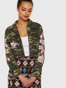 Flower Embroidered Camo Jacket