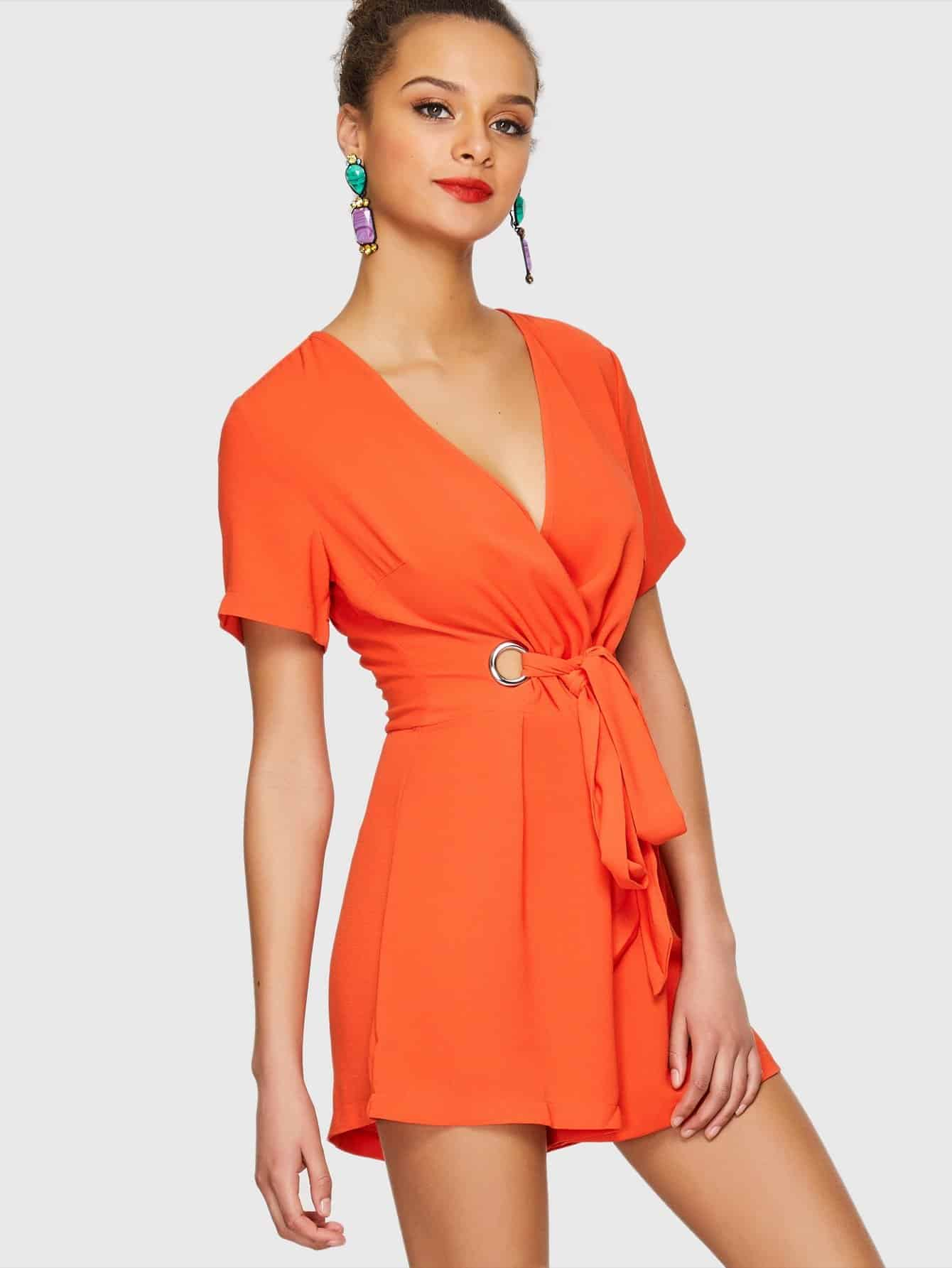 Surplice Neck O-Ring Knot Romper цена