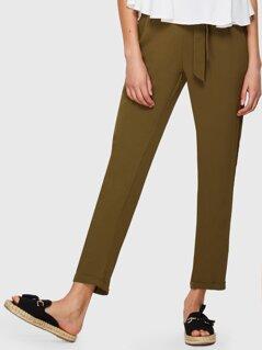Self Belted Rolled Hem Solid Pants