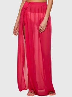 Neon Pink Slit Side Semi Sheer Knot Cover Up Skirt