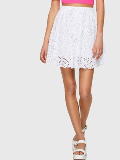 Laser Cut Insert Raw Hem Skirt