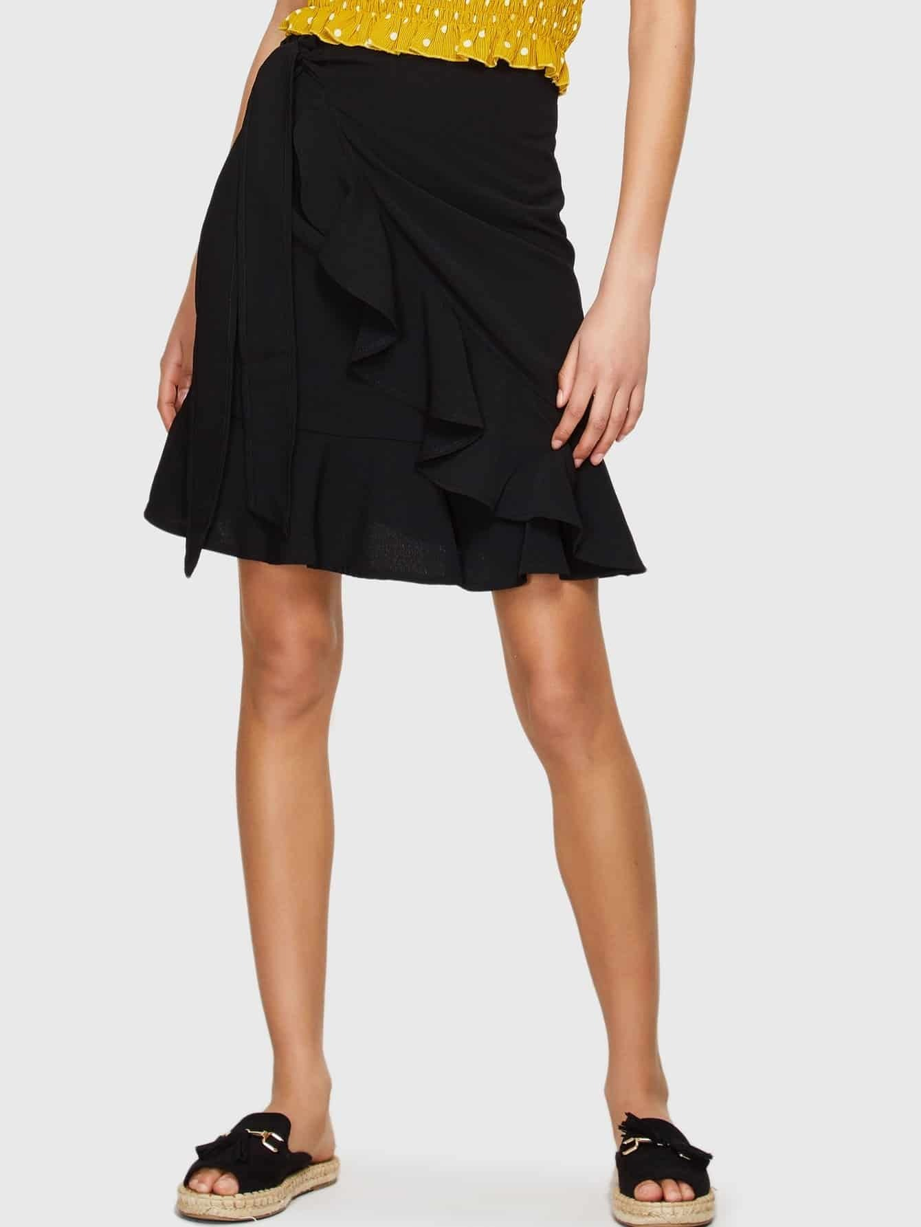 Knot Side Ruffle Trim Skirt knot side overlap ruffle trim dot skirt