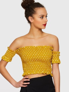 Polka Dot Shirred Top