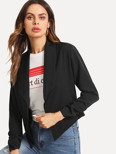 Shirred Sleeve Pointed Hem Crop Blazer