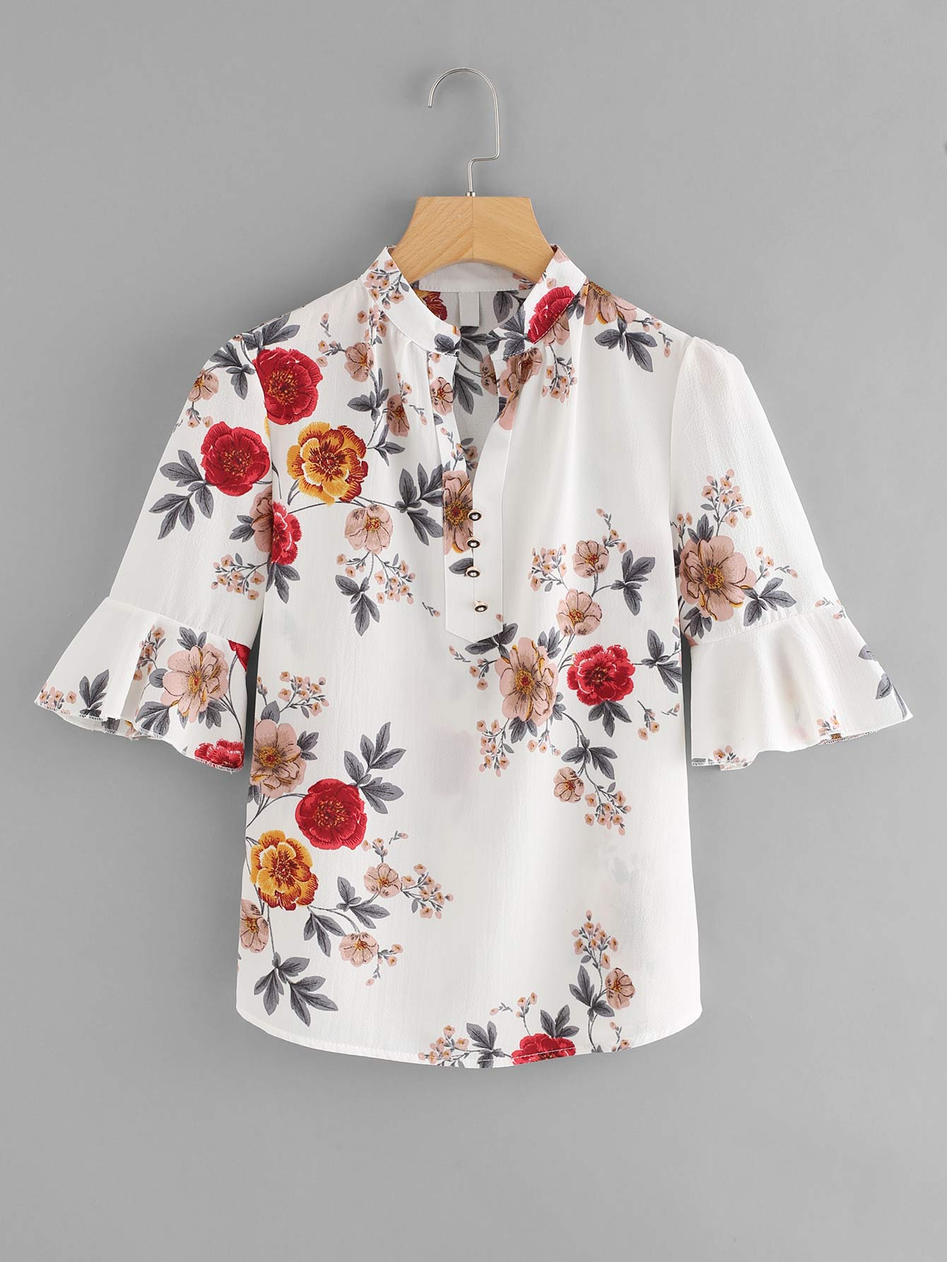 Fluted Sleeve Floral Print Blouse fluted sleeve bardot blouse
