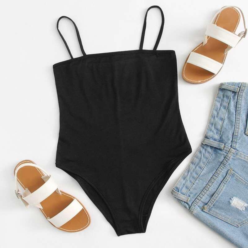 Skinny Cami Bodysuit, Black