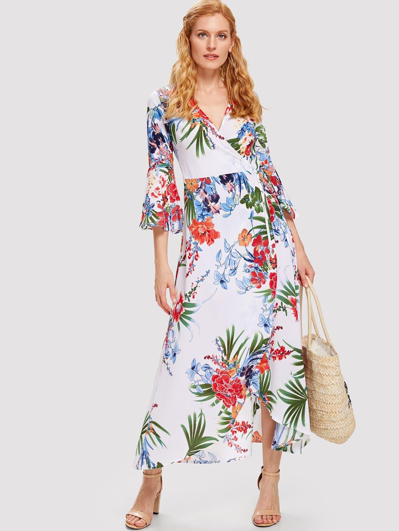 Botanical Print Flounce Sleeve Wrap Dress trumpet sleeve botanical print dress