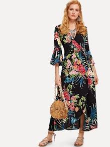 Botanical Print Flounce Sleeve Wrap Dress