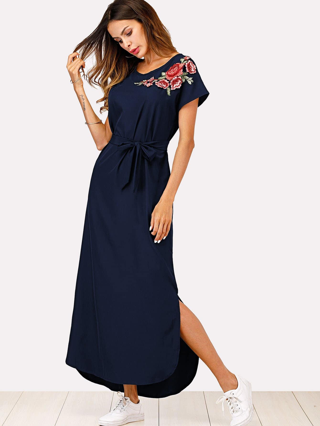 Split Side Embroidered Applique Dress split side embroidered applique dress