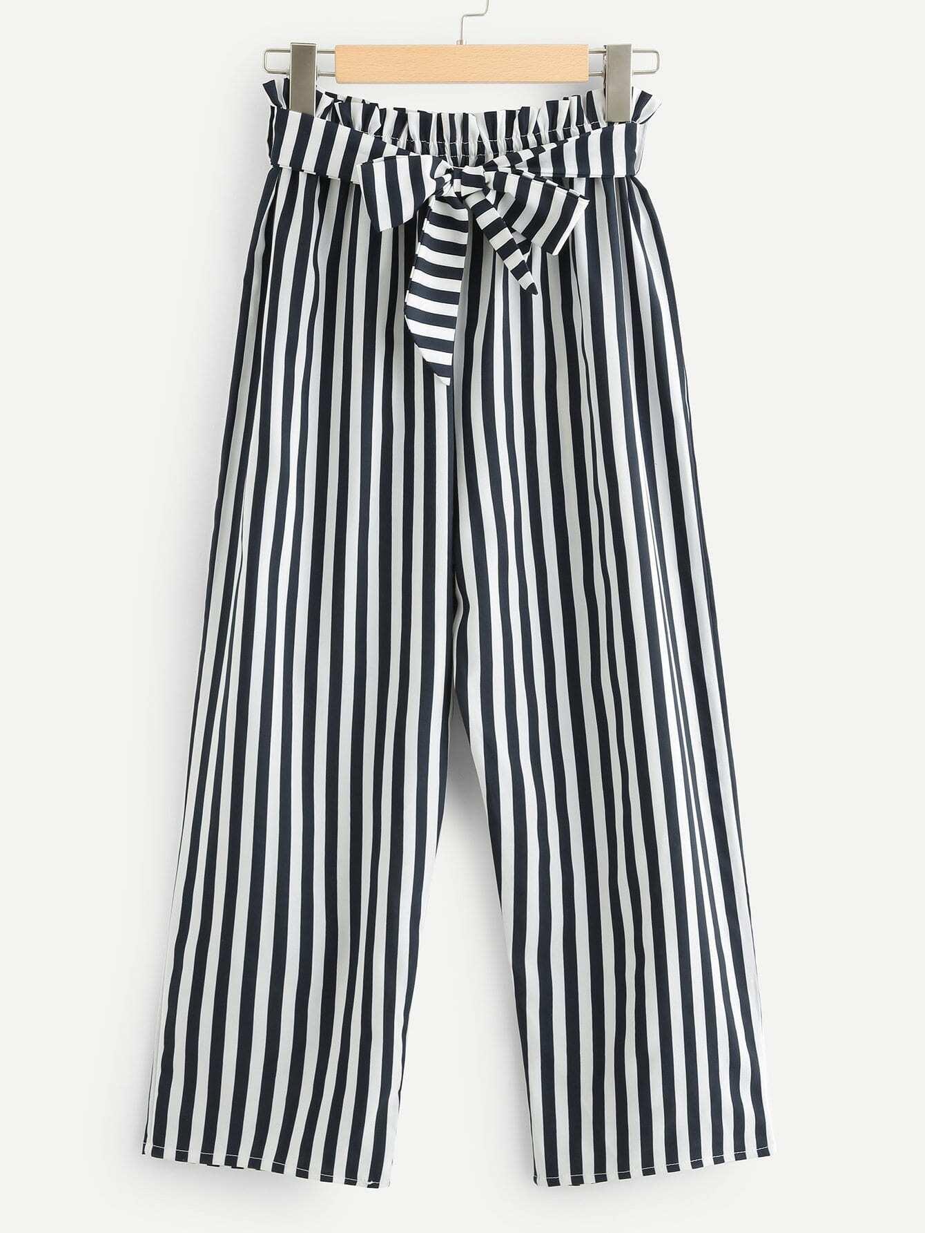 Self Tie Waist Striped Pants striped ruffled waist self tie pants