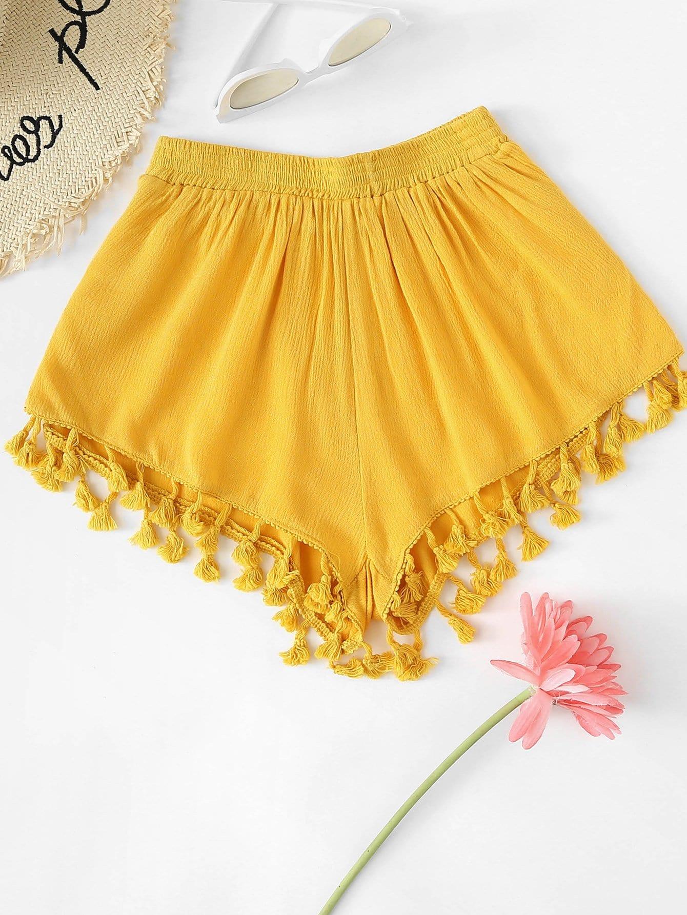 Tassel Hem Shorts sweet wavy hem design striped shorts for women