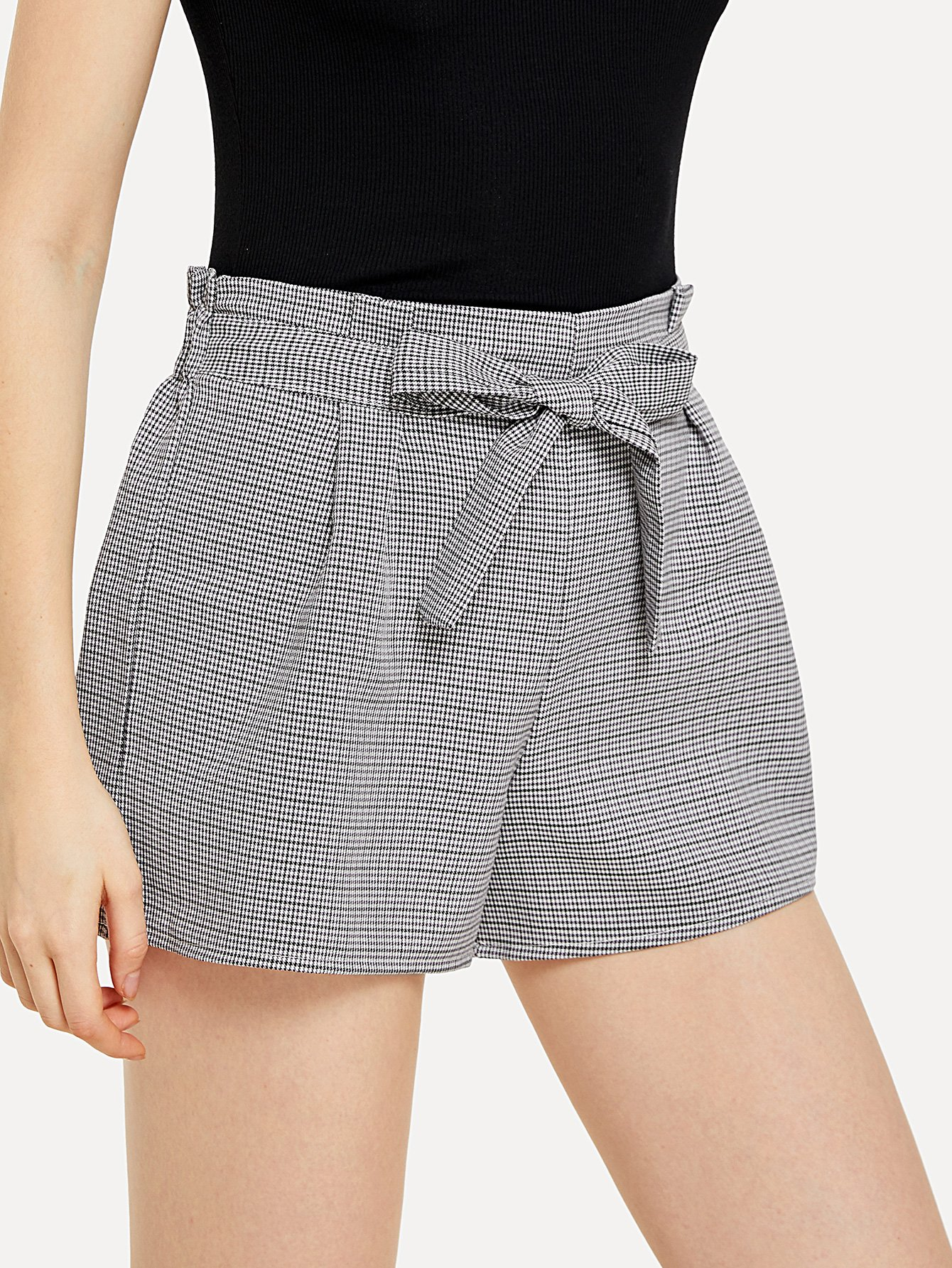 Self Tie Waist Checked Shorts цена 2017