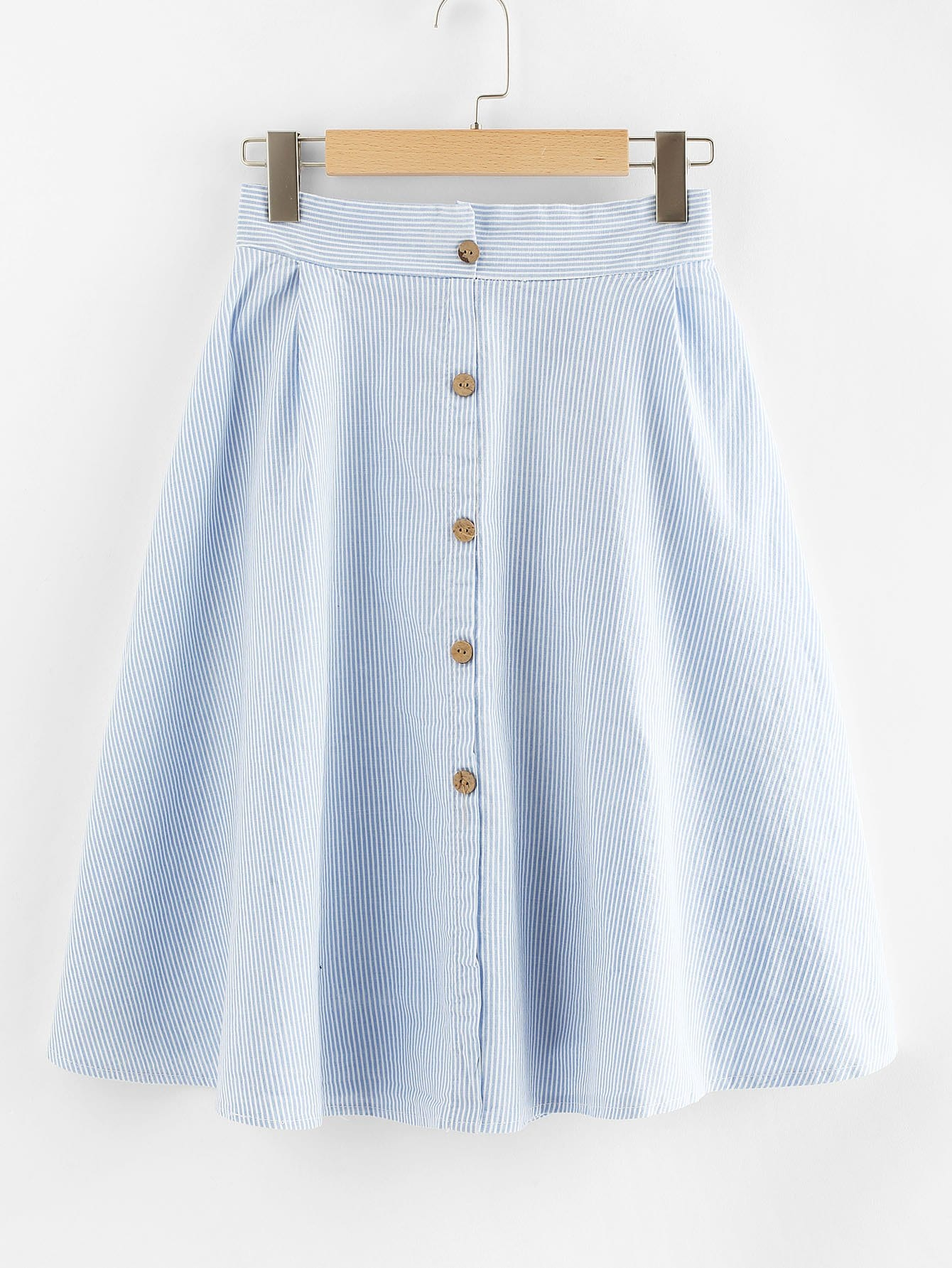 Single Breasted Striped Skirt multi striped skirt