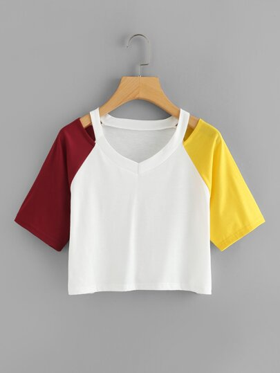 Contrast Sleeve Cut Out Neck Crop Tee