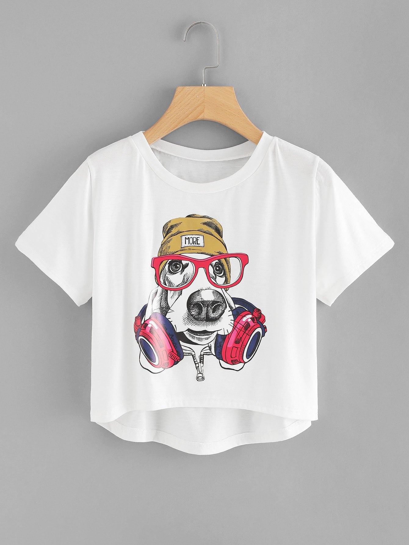 Puppy Print Dip Hem Tee allover skull print dip hem tee
