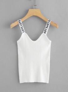 Letter Print Strap Ribbed Top