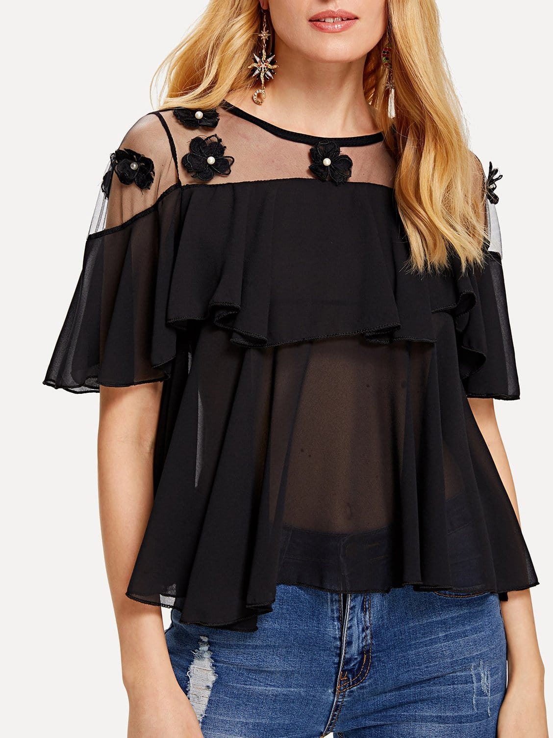 Sheer Mesh Pearls Detail Top pearl detail layered frill sleeve top