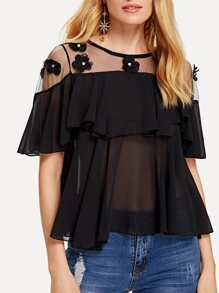 Sheer Mesh Pearls Detail Top