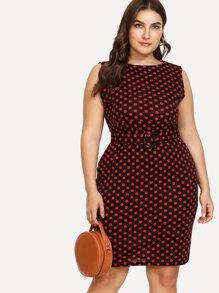 Plus Polka Dot Print Belted Dress