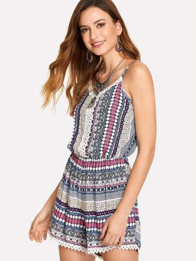 Tribal Geo Print Cami Jumpsuit