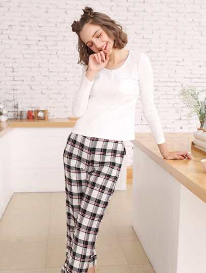 Solid Color Ribbed Top & Plaid Pants PJ Set
