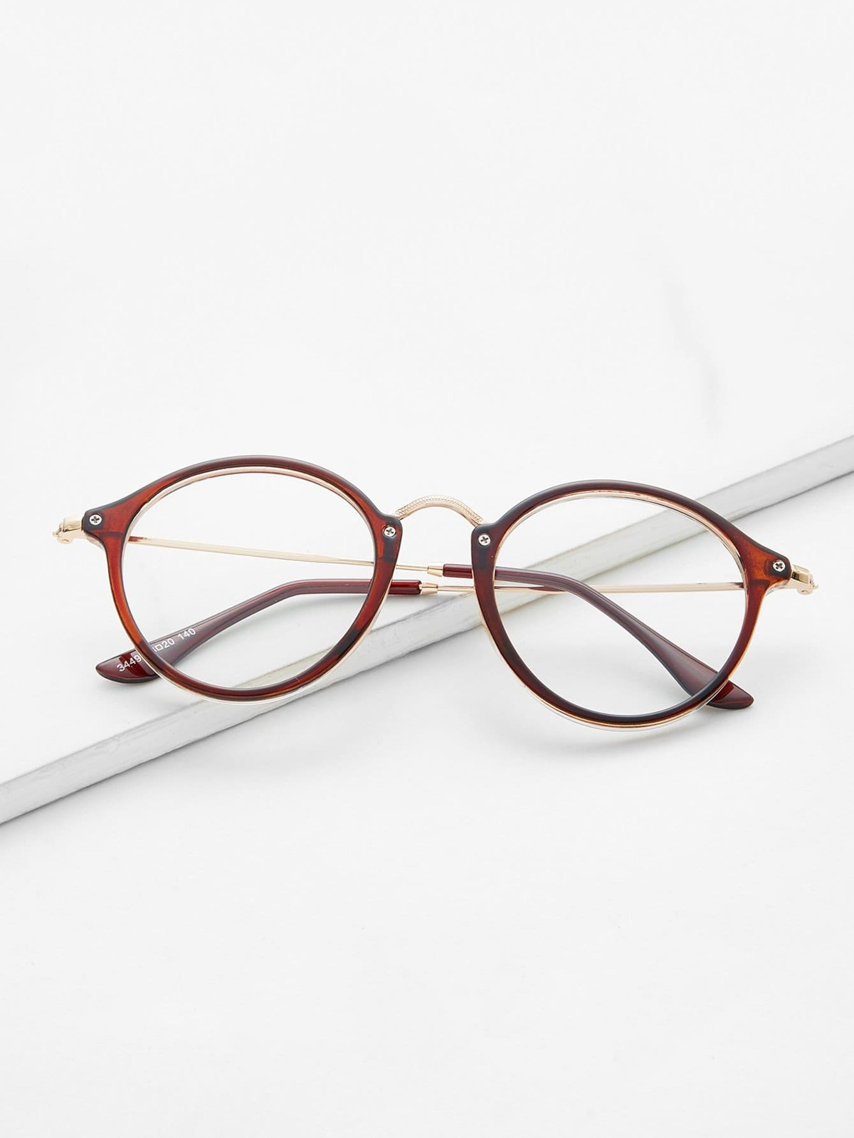 Metal Top Bar Round Glasses by Romwe