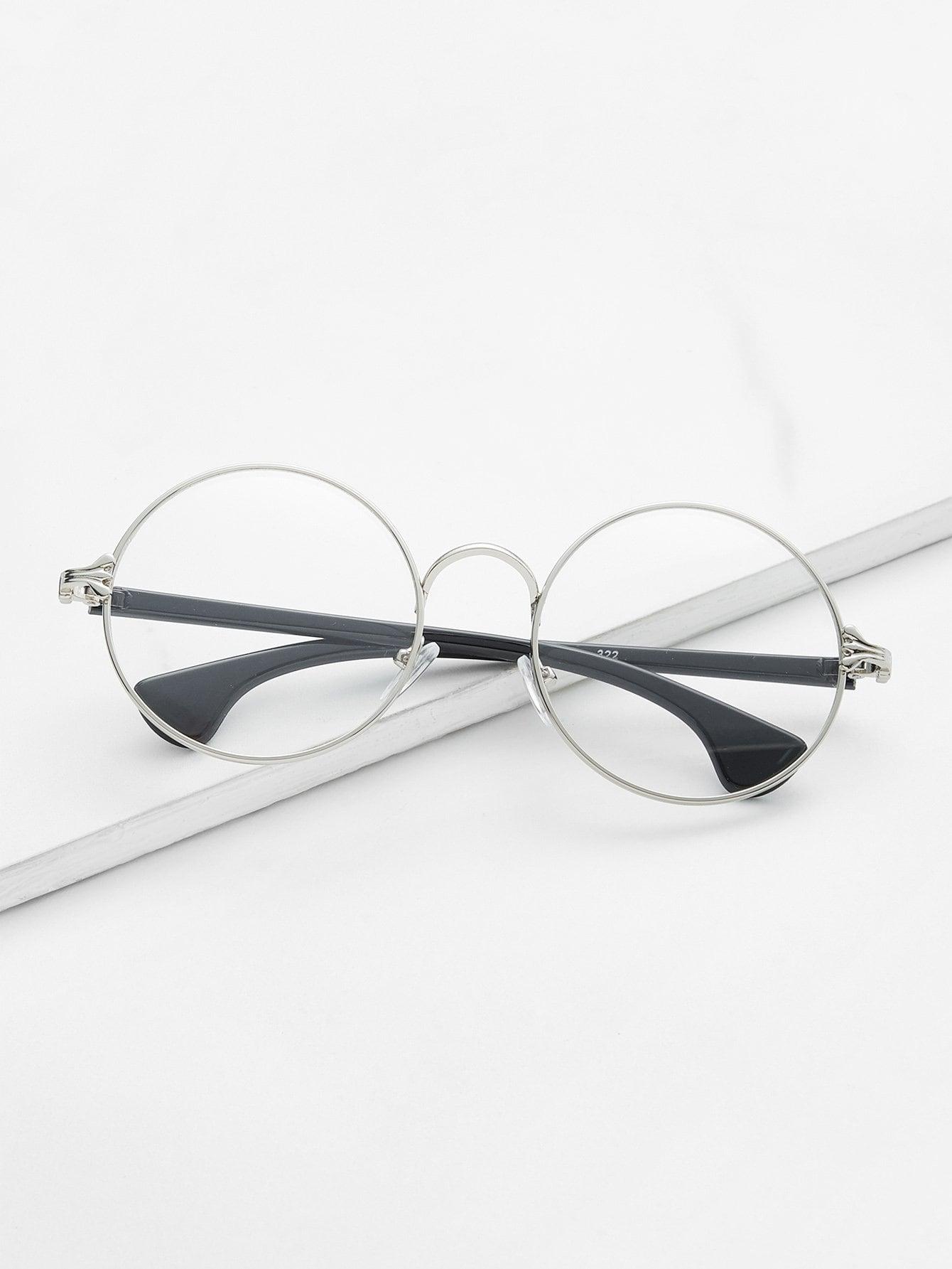 Silver Frame Black Arm Clear Lens Glasses black open frame gold trim glasses
