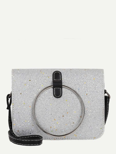 Ring Decor Glitter Shoulder Bag