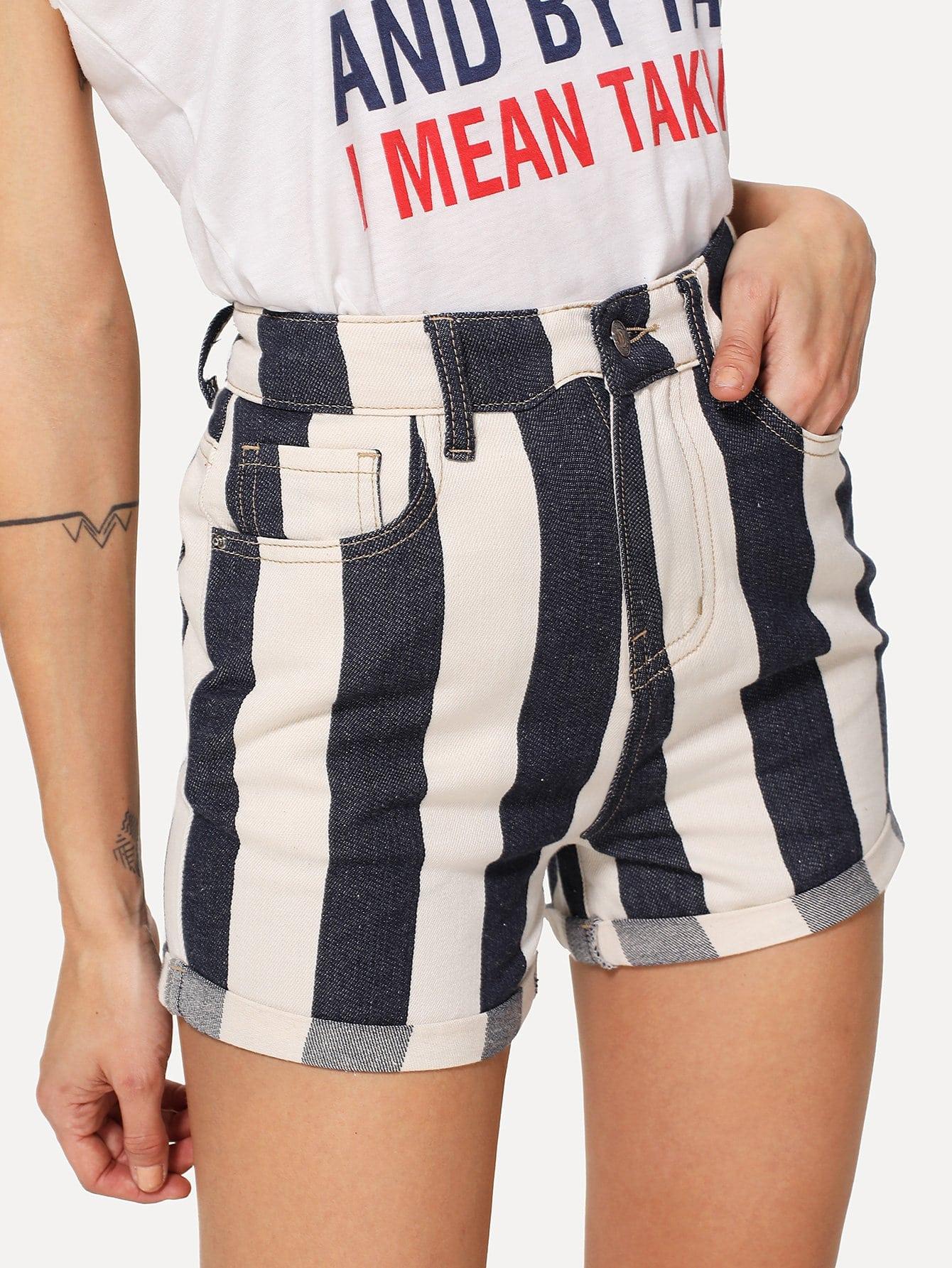 Cuffed Hem Striped Denim Shorts sweet wavy hem design striped shorts for women